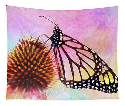 Monarch Butterfly On Coneflower Abstract Tapestry