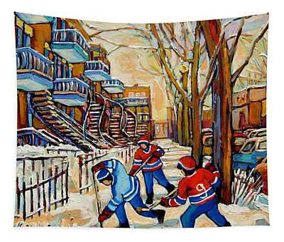Montreal Hockey Game With 3 Boys Tapestry