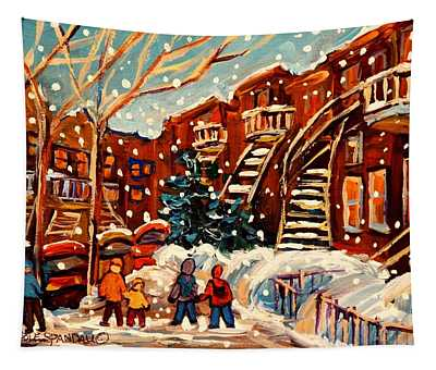 Montreal Street In Winter Tapestry