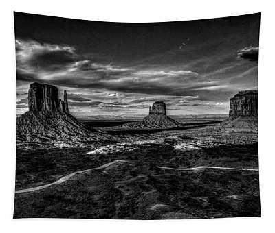 Monument Valley Views Bw Tapestry