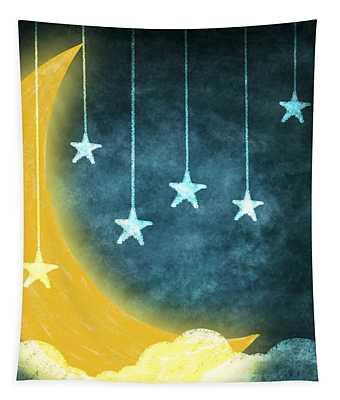 Moon And Stars Tapestry