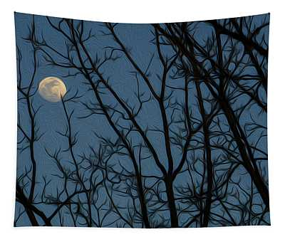 Moon At Dusk Through Trees - Impressionism Tapestry