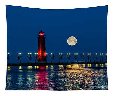 Moon Over Grand Haven Tapestry