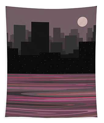 Moon Over Manhattan - A Different View Tapestry