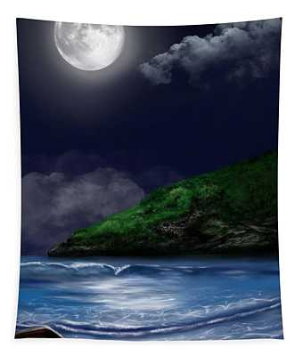 Moon Over The Cove Tapestry