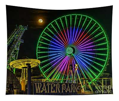 Moon Over The Ferris Wheel Tapestry