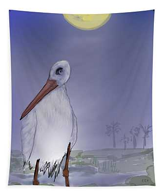 Moon Rise Becomes A Stork Tapestry