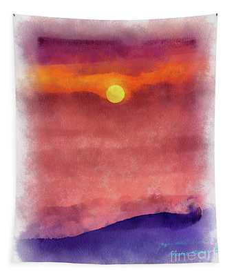 Moon Rise In Aquarelle Tapestry