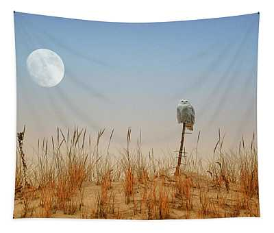 Moon Rise Snowy Owl Tapestry