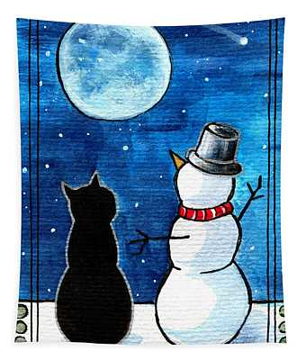 Moon Watching With Snowman - Christmas Cat Tapestry