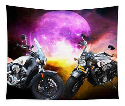 Moonlit Indian Motorcycle Tapestry