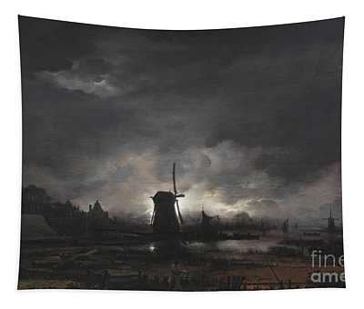 Moonlit Landscape With A Windmill Tapestry