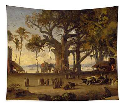 Moonlit Scene Of Indian Figures And Elephants Among Banyan Trees Tapestry