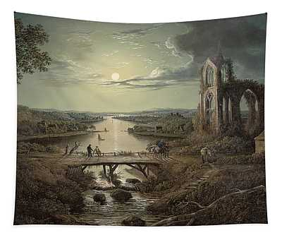 Moonlit View Of The River Tweed With Melrose Abbey In The Foreground And Figures On A Bridge Tapestry