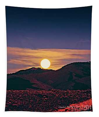 Moonrise In Northern New Mexico  Tapestry