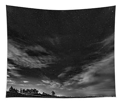 Moonrise Over Sauble Beach Bw Tapestry