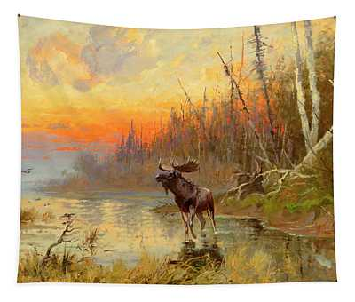 Moose At Sunset Tapestry