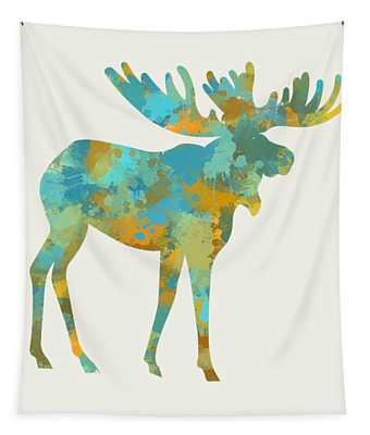 Moose Watercolor Art Tapestry