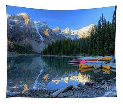 Moraine Lake Sunrise Blue Skies Canoes Tapestry
