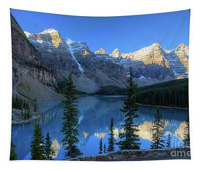 Moraine Lake Sunrise Blue Skies Tapestry
