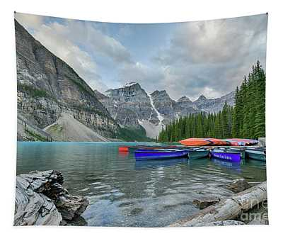 Moraine Logs And Canoes Tapestry