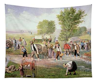 Mormon Pioneers Pulling Handcarts On The Long Journey To Salt Lake City In 1856 Tapestry