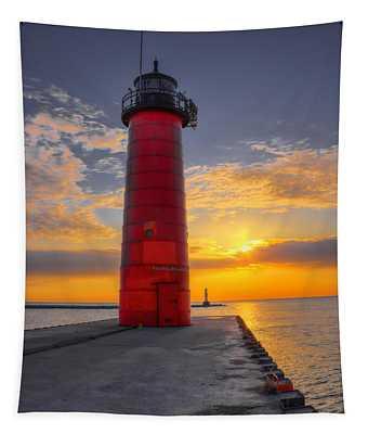 Morning At The Kenosha Lighthouse Tapestry