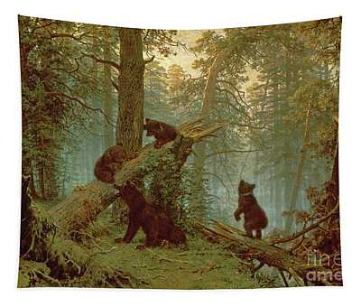Morning In A Pine Forest Tapestry