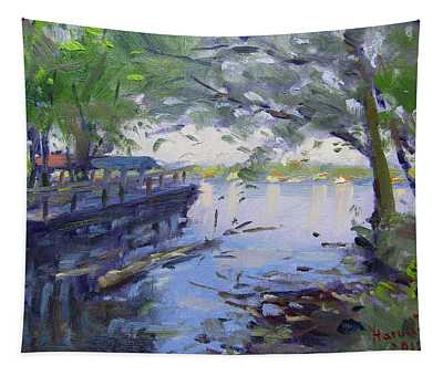 Morning Light By The River Tapestry