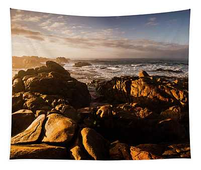Morning Ocean Panorama Tapestry