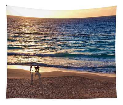 Morning Walk On The Beach Tapestry