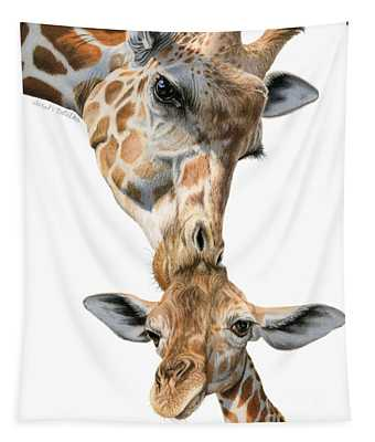Mother And Baby Giraffe Tapestry
