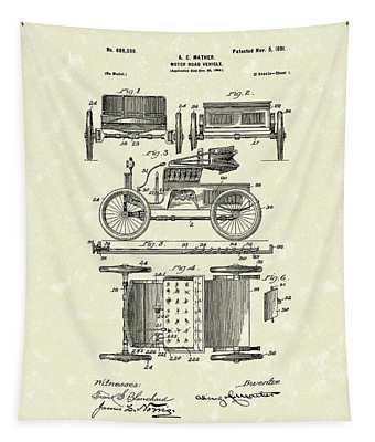 Motor Vehicle 1901 Patent Art Tapestry