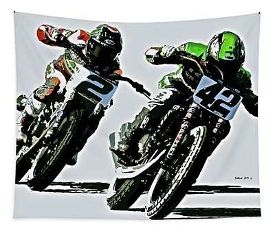 Motorcycle Flat Track Racers Tapestry