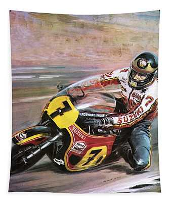 Motorcycle Racing Tapestry