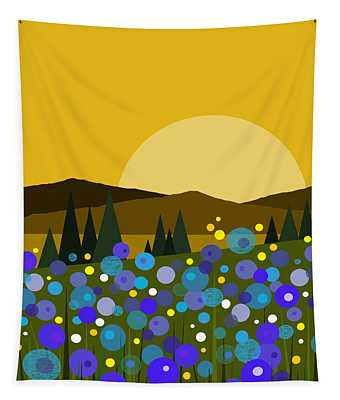 Mountain Meadow Sunrise And  Bluebells Tapestry