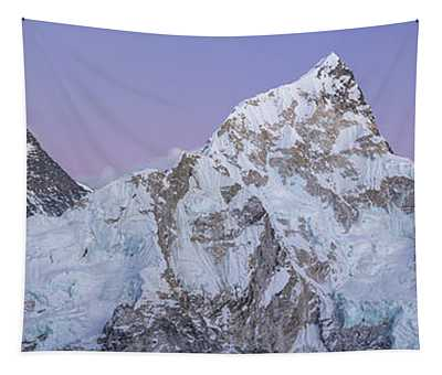 Mount Everest Lhotse And Ama Dablam Just After Sunset Panorama Tapestry