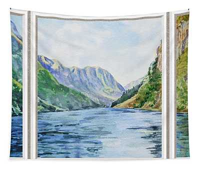 Mountain Lake View Window  Tapestry