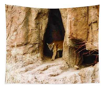 Mountain Lion In The Desert Tapestry