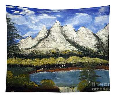 Mountains And Evergreens Tapestry