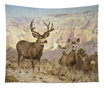 Mule Deer In The Badlands, Dawson County, Montana Tapestry