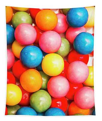 Multi Colored Gumballs. Sweets Background Tapestry