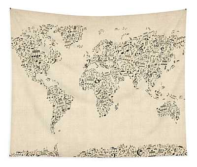 Music Notes Map Of The World Map Tapestry