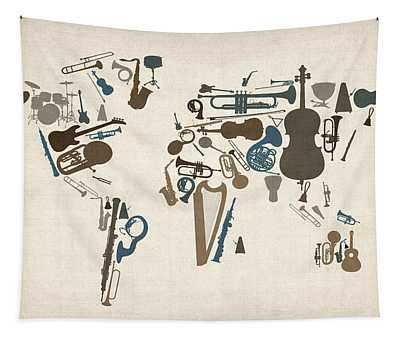 Musical Instruments Map Of The World Map Tapestry