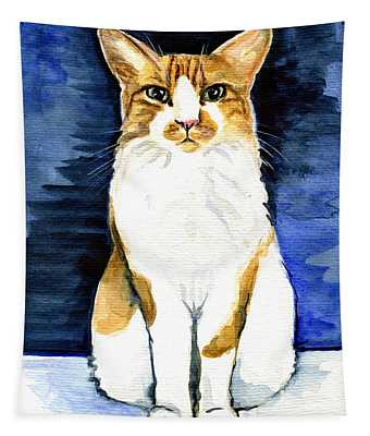 Mustached Bicolor Beauty - Cat Portrait Tapestry