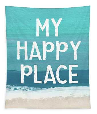 My Happy Place Beach- Art By Linda Woods Tapestry