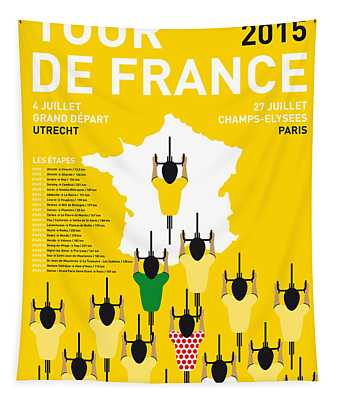 My Tour De France Minimal Poster Etapes 2015 Tapestry
