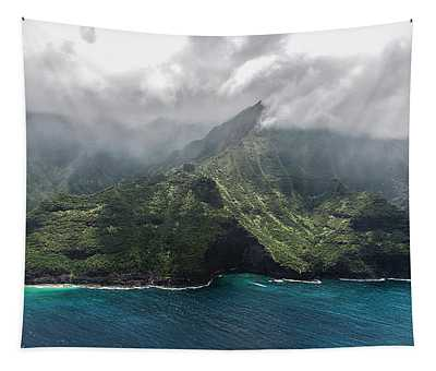 Napali Coast In Clouds And Fog Tapestry