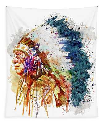 Native American Chief Side Face Tapestry