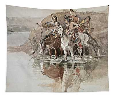 Native American War Party Tapestry